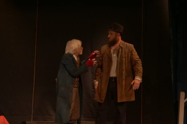 Michael Hulett (left) as Fagin and Nicholas Tackett (right) as Bill Sikes in Oliver! at St. Gabriel Miracle Players