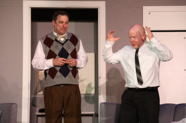 Richard Greenslit (left) as Robert and John Sheldon (right) as Bernard in Boeing Boeing. Photo: Shealyn Jae Photography