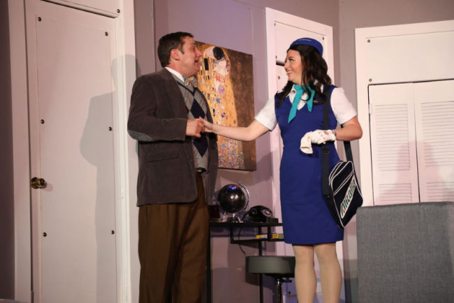 Rich Greenslit (left) as Robert and Katie Sheldon (right) as Gabriella in Boeing Boeing. Photo: Shealyn Jae Photography
