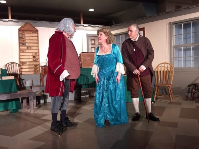 Rodney Bonds (left) as Benjamin Franklin, Ariel Edler (center) as Martha Jefferson, and Robert Hitcho (right) as John Adams in 1776. Photo: Amanda Gunther