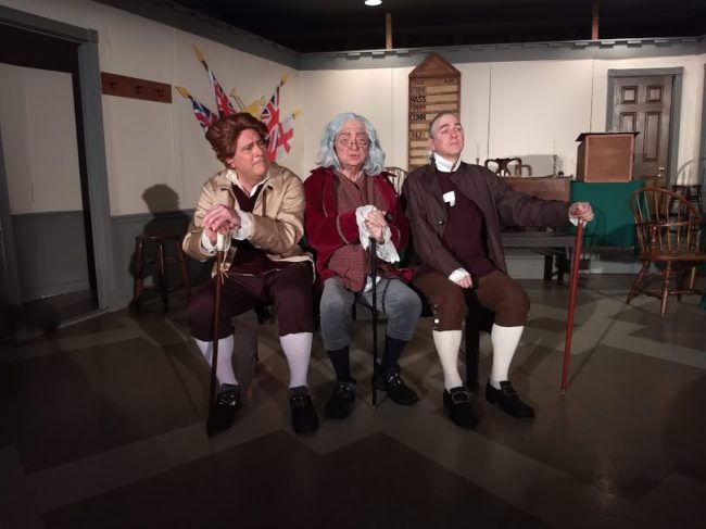 Jim Rafferty (left) as Thomas Jefferson, Rodney Bonds (center) as Benjamin Franklin, and Robert Hitcho (right) as John Adams in 1776. Photo: Amanda Gunther