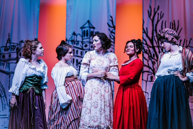 Alysa Fitch (center) as Fantine and the Factory Girls in Les Miserables. Photo: Alyssa Bouma