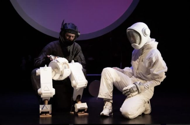 Alex Vernon (left) puppetting ATA with Sarah Olmsted Thomas (right) in Marooned! Photo: Ryan Maxwell