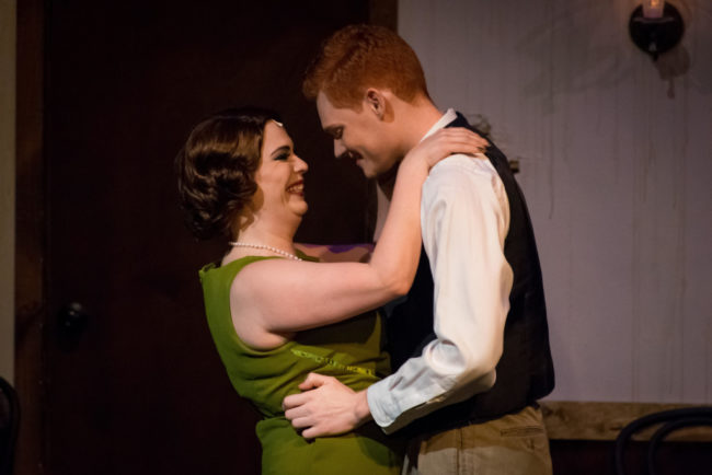 Megan Mostow (left) as Sally Bowles and Seth Fallon (Right) as Cliff Bradshaw in Cabaret. Photo: Stasia Steuart Photography