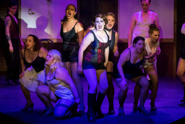 Megan Mostow (center) as Sally Bowles and The Kit Kat Club Dancers in Cabaret. Photo: Stasia Steuart Photography