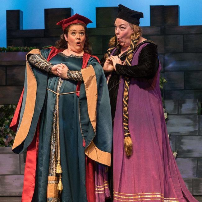 Amanda Jones (left) as Melissa and Jenellen Fischer (right) as Lady Blanche in Princess Ida. Photo: Harvey Levine