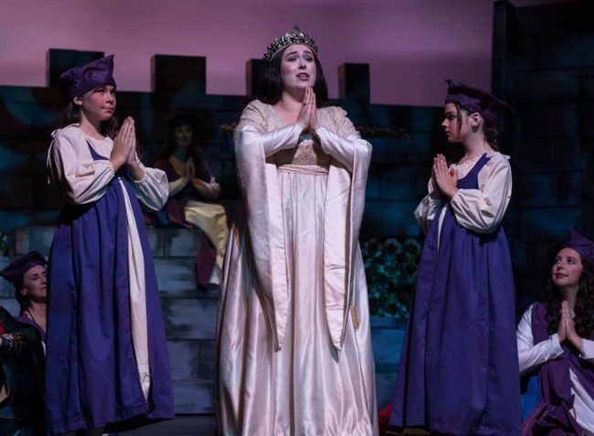 "Erica Ferguson (center) as Princess Ida, with Aliyah Fischer and Gabriella Jones in ""Princess Ida"" at Victorian Lyric Opera Company. Photo: Harvey Levine."