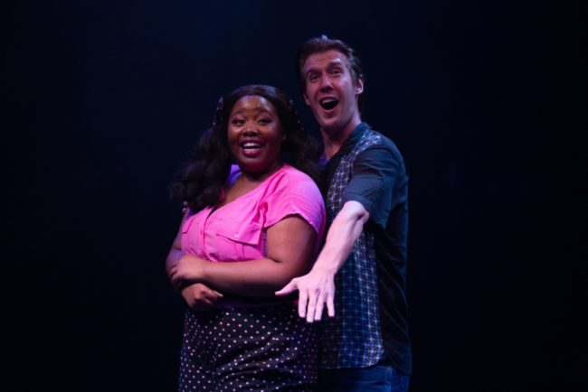 Kalen Robinson (left) as Jan and Justin Calhoun (right) as Roger in Grease. Photo: Jeri Tidwell Photography.