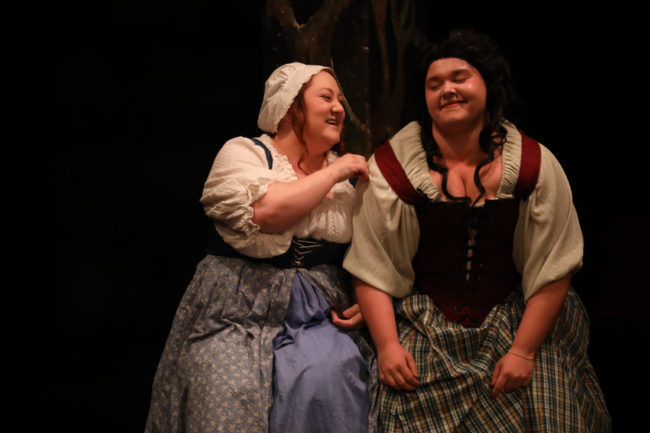 Jennifer Hasselbusch (left) as Susan and Lanoree Blake (right) as Alice in Vinegar Tom at Spotlighters Theatre. Photo: Shealyn Jae Photography