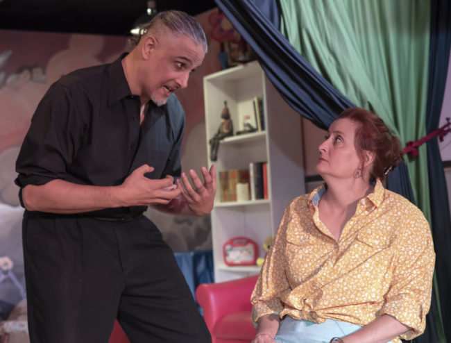 Paul M. Davis as Pastor Greg and Sharon Eddy as Margery in Hand to God. Photo: Rachel Zirkin Duda.
