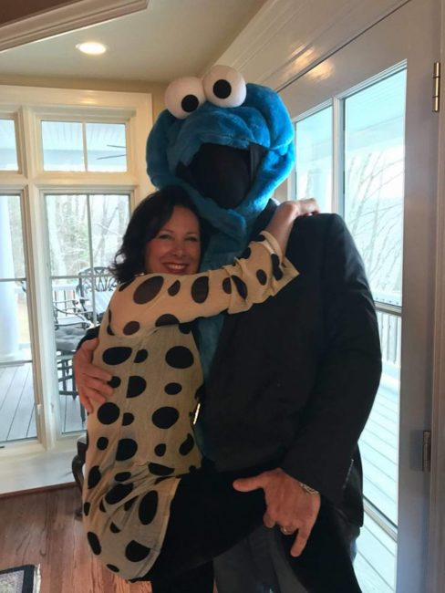 Michele and Greg Guyton at a cookie tasting party...where Greg is in the Cookie Monster suit.