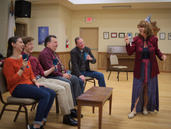 "L-R:  Maddi Stanton (Alice), Drew Sharpe (Jon), Bill Fellows (Ben), Bob Cohen (Jack) and Barbara Webber (Susan) ""Adding some comic relief to a dark and stormy night"". Photo: John Cholod"