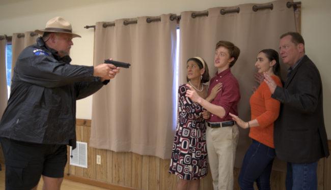 "L-R: Peter Eglitis (Nate), Terri Laurino (Ruth), Drew Sharpe (Jon), Maddi Stanton (Alice) and Bob Cohen (Jack) ""Don't move--any of you!"" Photo: John Cholod"
