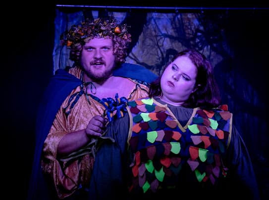 Josh Hopkins (left) as Oberon and Molly Laska (right) as Puck in A Midsummer Night's Dream.