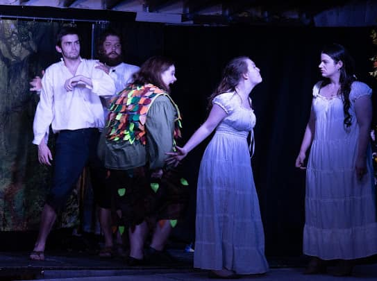 (L to R) Sam Webster as Lysander, Ben Hopkins as Demetrius, Molly Laska as Puck, Emily Plovan as Hermia, and Dana Panczenko as Helena in A Midsummer Night's Dream.