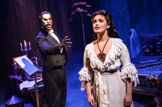 Quentin Oliver Lee as 'The Phantom' and Eva Tavares as 'Christine Daaé' in The Phantom of The Opera. Photo: Matthew Murray.