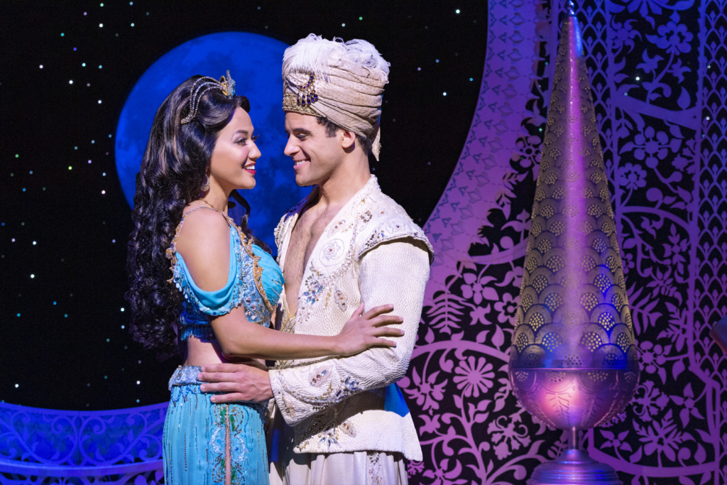 Kaenaonālani Kekoa (left) as Princess Jasmine and Clinton Greenspan (right) as Aladdin in Disney's Aladdin. Photo: Deen van Meer
