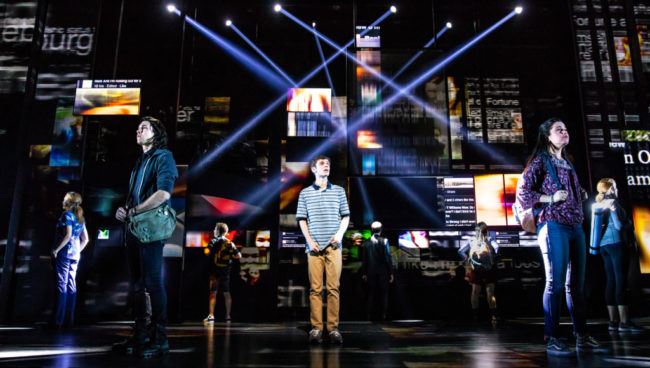 Ben Levi Ross (center) as Evan Hansen and the company of the first North American Tour of Dear Evan Hansen. Photo: Matthew Murphy