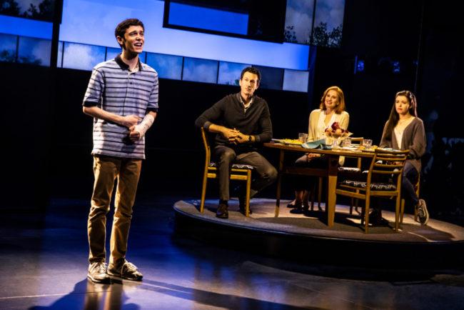 (L to R) Ben Levi Ross as Evan Hansen, Aaron Lazar as Larry Murphy, Christiane Noll as Cynthia Murphy, and Maggie McKenna as Zoe Murphy. Photo: Matthew Murphy