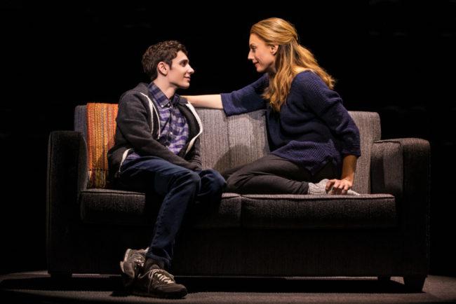 Ben Levi Ross (left) as Evan Hansen and Jessica Phillips (right) as Hedi Hansen. Photo: Matthew Murphy