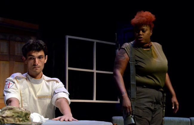 Stephen Kime (left) as Kershaw and Lola Reign (right) as Britt in Crusade. Photo: Max Gardner