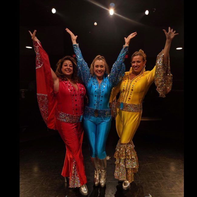Tina Marie DeSimone (left) as Rosie, with Heather Marie Beck (center) as Donna and Coby Kay Callahan (right) as Tanya in Mamma Mia.