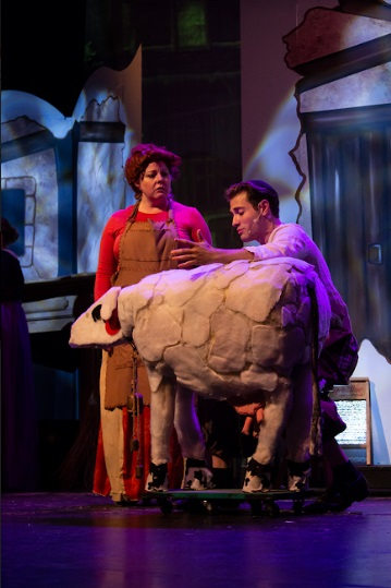Kerry Jungwirth (left) as Jack's Mother and Pinny Schachter (right) as Jack, with Milky White the Cow (played by a sheep?) in Into The Woods