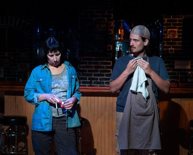 Julie Herber (left) as Tracey and Daniel Valentin-Morales (right) as Oscar in Sweat. Photo: Joe Williams