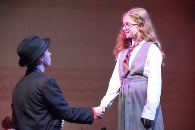 Sammy Jungwirth (left) as Sergei and Maeve Acerno (right) as Matilda in CPM's Matilda.