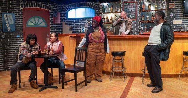 (L to R) Julie Herber as Tracey, Lia Seltzer as Jessie, Rona Mensah as Cynthia, Tim Seltzer as Stan, and Ray Hatch as Brucie in Sweat. Photo: Joe Williams