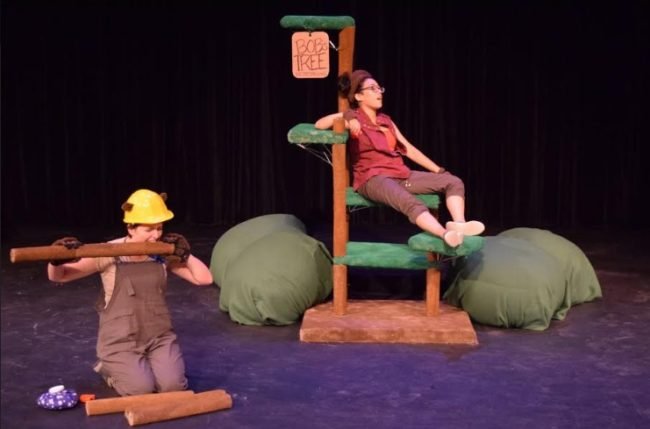Nell Quinn-Gibney (left) as Shikoku the Builder beaver and Ruth Diaz (right) as Bob the Monkey. Photo: Steve Wolf.