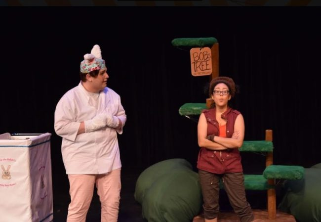 Geraden Ward (left) as Bunny the Baker and Ruth Diaz (right) as Bob the Monkey. Photo: Steve Wolf