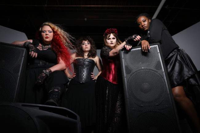 The Cast of Lizzie at Guerrilla Theatre Front (L to R) Siobhan Beckett, Caitlin Weaver, Parker Bailey Steven, JacQuan Knox. Photo: Shealyn Jae Photography