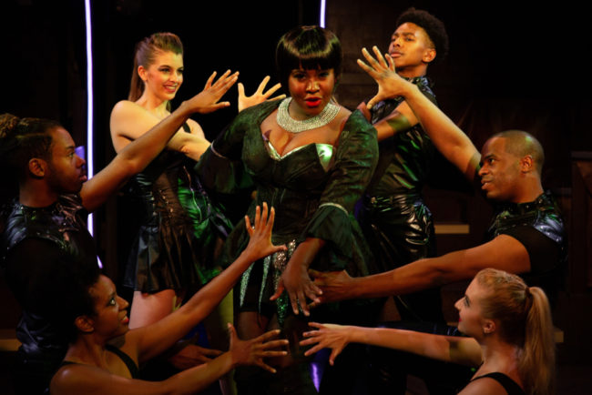 "Ashley Johnson-Moore (center) as Rachel Marron and her dancers in the number ""Queen of the Night"" in The Bodyguard. Photo: Jeri Tidwell."