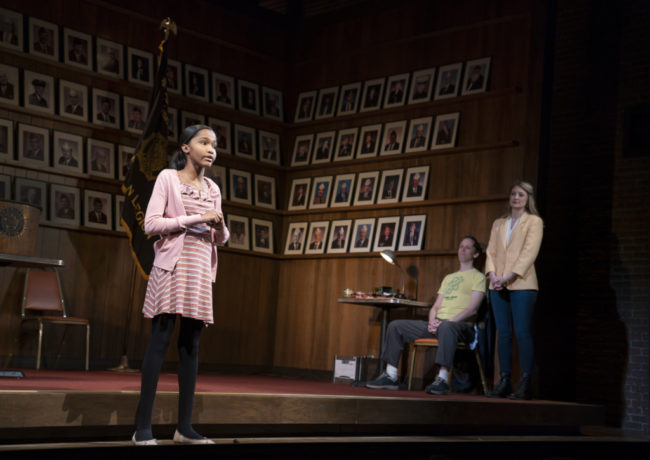 Rosdely Ciprian (left) with Mike Iveson (center) and Heidi Schreck (right) In What The Constitution Means to Me at The Kennedy Center. Photo: Joan Marcus