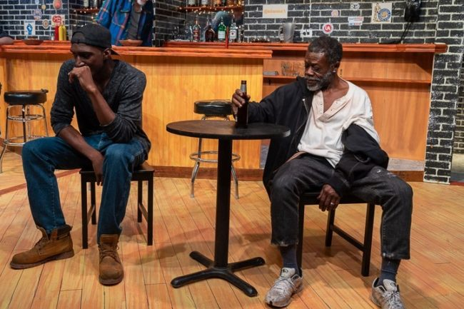 Najee Banks (left) as Chris and Ray Hatch (right) as Brucie in Sweat. Photo: Joe Williams