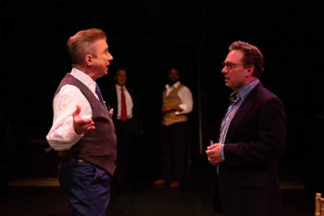 David James (left) as Sy Spector, publicist to Rachel Marron, and Jeffrey Shankle (right) as Douglas. Photo: Jeri Tidwell.
