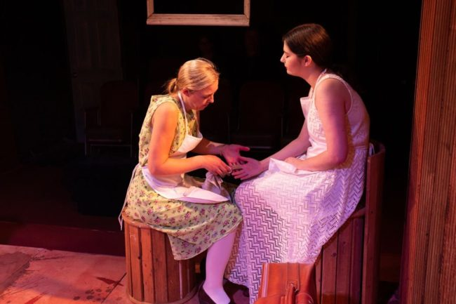 Amy Rhodes (left) as Zoja and Catherine Gilbert (right) as Shkurta in The Finger at Venus Theatre. Photo: Curtis Jordan