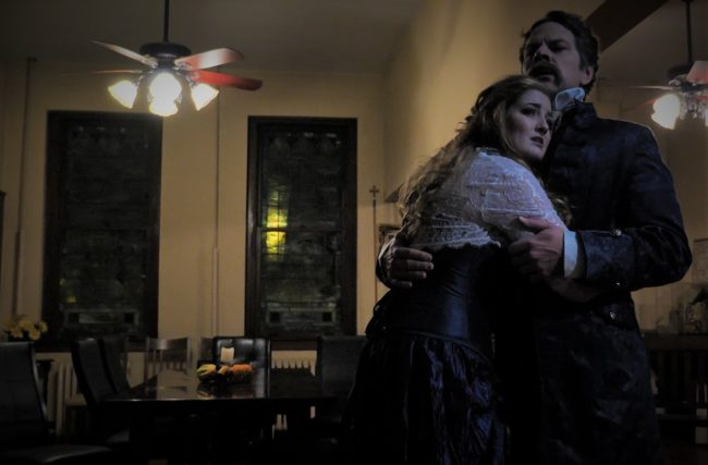 Kylie Smith (left) as Emma and Russell Rinker (right) as Danvers in Jekyll & Hyde