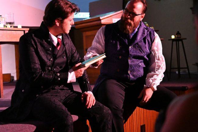 Matt Hirsh (left) as Dr. Henry Jekyll and Michael E. Mason (right) as Utterson in Jekyll & Hyde