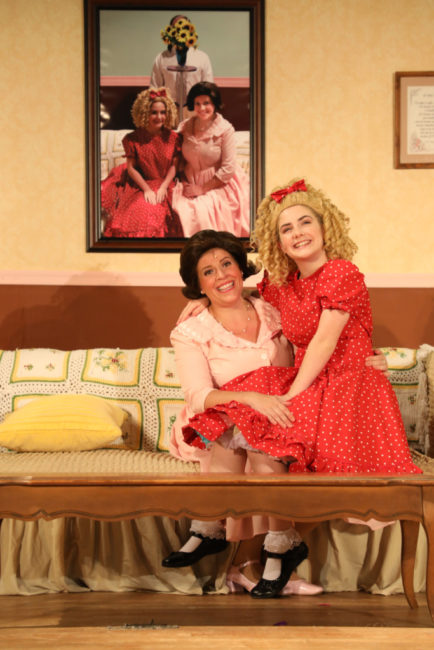 Lisa Pastella (left) as Judy Denmark and Brooke Webster (right) as Tina Denmark in Ruthless! Photo: Shealyn Jae Photography