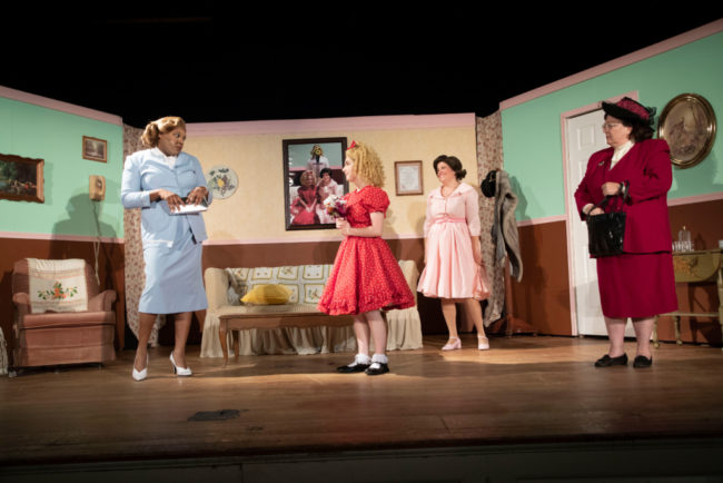 (L to R) J Purnell Hargrove as Sylvia St. Croix, Brooke Webster as Tina Denmark, Lisa Pastella as Judy Denmark, and Jennifer Georgia as Lita Encore in Ruthless! Photo: Shealyn Jae Photography