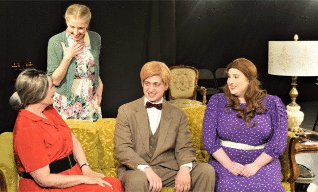 L-R: Boo Levy (Jean Berard), Reba Freitag (Jeanne Louise), Peachy Weil (Michael Safko), LaLa Levy (Spencer Kate Nelson)