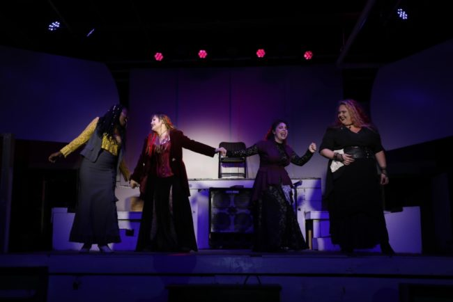 (L to R) JacQuan Knox as Alice Russell, Parker Bailey Steven as Lizzie Borden, Caitlin Weaver as Emma Borden, and Siobhan Beckett as Bridget Sullivan in Lizzie. Photo: Shealyn Jae Photography