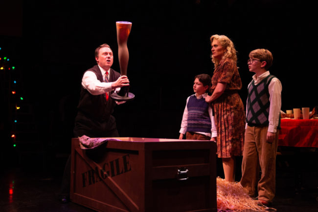 "(L to R) Jeffrey Shankle as The Old Man, A Major Award, Chrysocyon ""Sonny"" Huza as Randy, Heather Beck as Mother, and Evan Christy as Ralphie in A Christmas Story. Jeri Tidwell Photography"