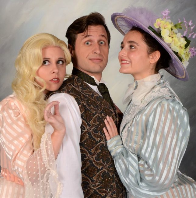 Allison Comotto (left) as Sibella, with Rob Tucker (center) as Monty Navarro, and Marina Yiannouris (right) as Phoebe in A Gentleman's Guide to Love and Murder