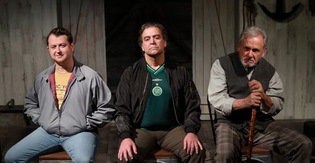 Chris Stinson (left) as Kevin, Matthew Vaky (center) as Dermot, and Joe Palka (right) as Joe in Port Authority at Quotidian Theater Company. Photo: Steve LaRocque