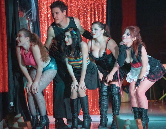 (L to R) Miranda Austin Tharp as Columbia, Jon Townson as Riff Raff, Jessica Cooperstock as Usherette, Rachel Sharp as Phantom, and Melanie Kurstin as Magenta. Photo: Rachel Zirkin Duda
