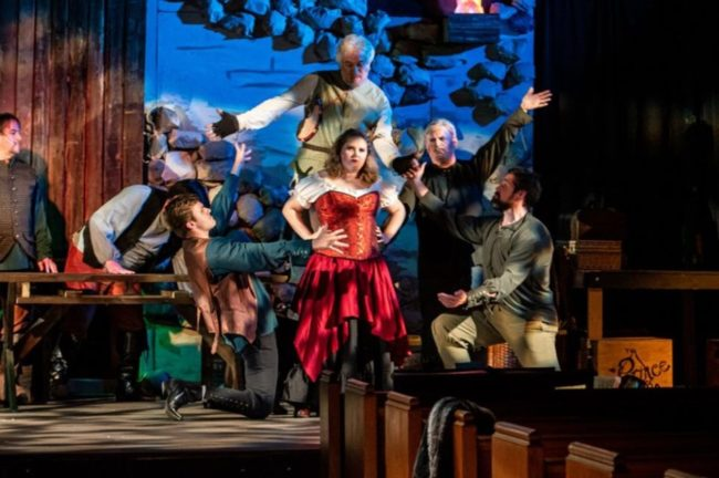 Jessica Preactor (center) as Aldonza and the company of Man of La Mancha at Third Wall Productions. Photo: Stasia Steuart Photography