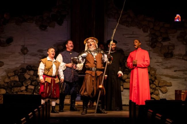 (L to R) Annmarie Pallanck as Sancho, Jim Morgan as The Barber, Lance Bankerd as Don Quixote, Henry Cyr as Dr. Carrasco, and Timoth David Copney-Welton as Padre. Photo: Stasia Steuart Photography